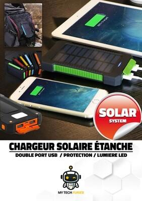 Chargeur solaire - Double USB à capacité de 30000mAh (compatible Apple, Samsung, Huawei, HTC, Kindle, Nexus, ...)