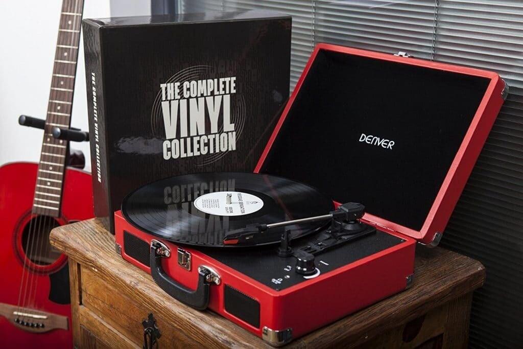 Platine Vinyle Vintage Rouge Denver Electronics VPL-120  USB - Compatible 33,45 et 75 tours.