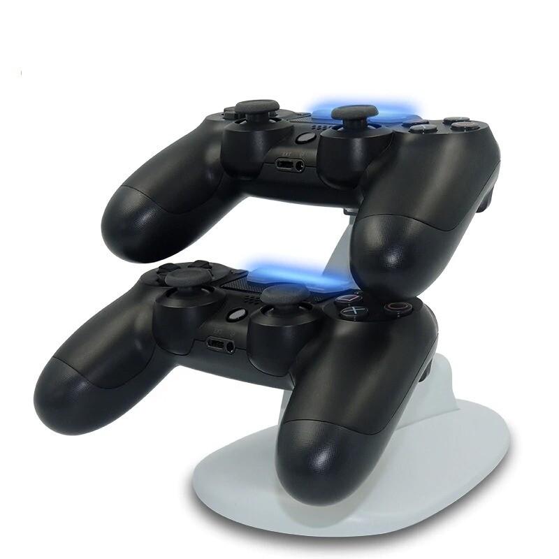 Station de charge dual pour manettes Playstation PS4 LED