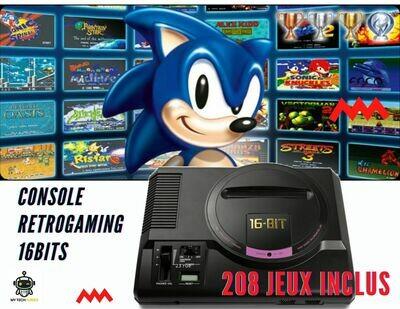 Console Retro Game 16bits avec 208 jeux - Design Sega Megadrive