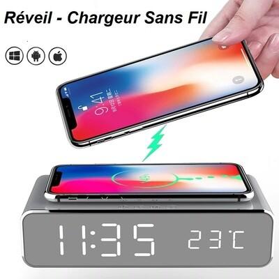 Reveil Chargeur iPhone / Android Sans Fil avec LED