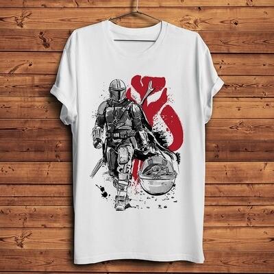 T-Shirt Blanc The Mandalorian - Homme/Femme