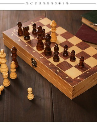 Jeu d'échecs pliant en bois - 34cm ou 39cm CHESS