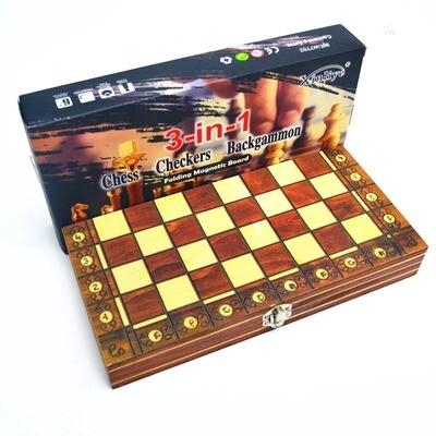 Coffret en bois 3 en 1 - Backgammon, jeu de Dames et jeu d'échecs