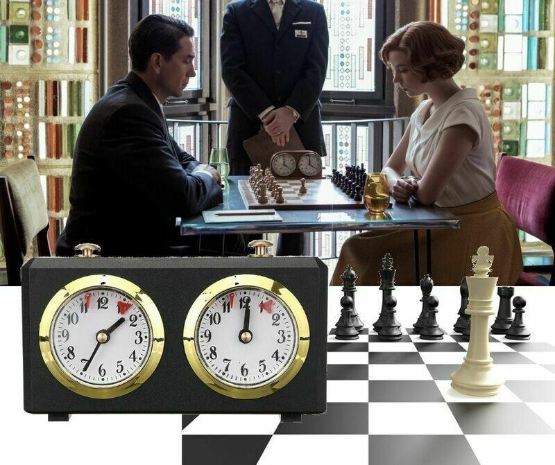 Pendule mécanique noire pour jeu d'échecs