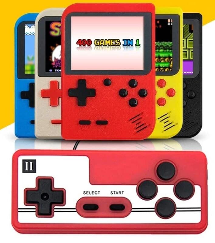 Console Portable Retro Gaming + manette de jeu (inclus 400 jeux dont Super Mario, Tetris, Pacman, ...) / Batterie rechargeable par USB.