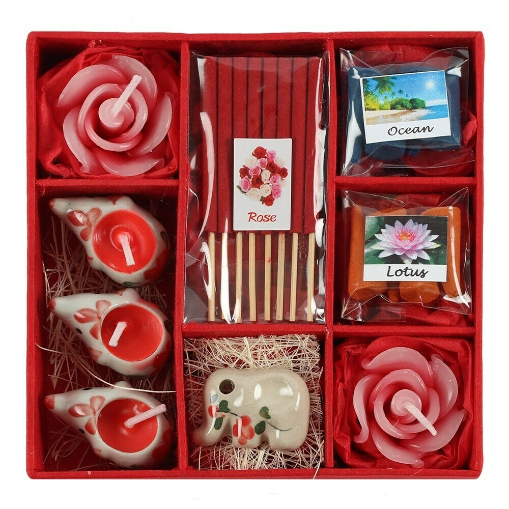 RED ELEPHANT INCENSE CANDLES GIFT SET