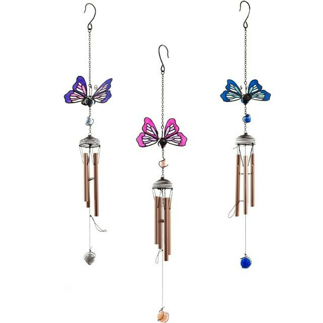 Windchimes (Butterfly design) Garden and Home Decor Windchimes handcrafted glass resin and metal (comes as a set of 3)