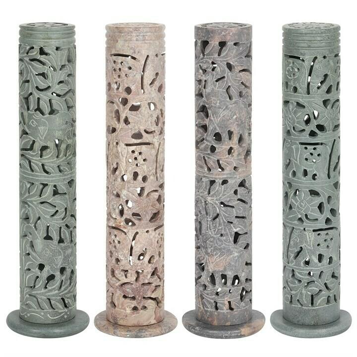Incense Burner Tall Soapstone Set of 4