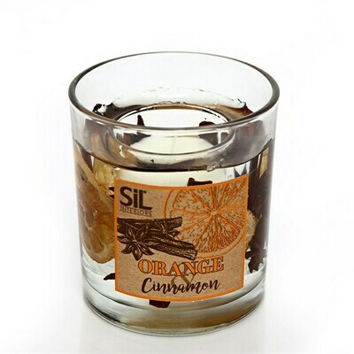 Gel Wax Candle Cinnamon and Orange Scented Medium