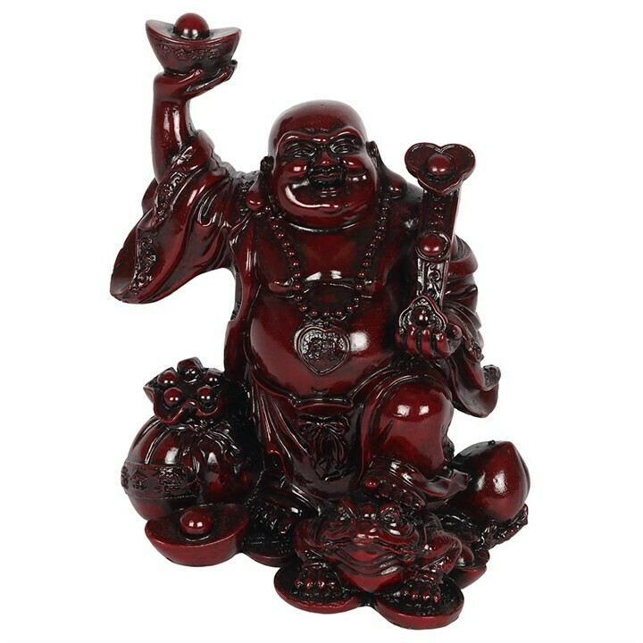 Ornament Red Chinese Buddha 17cm