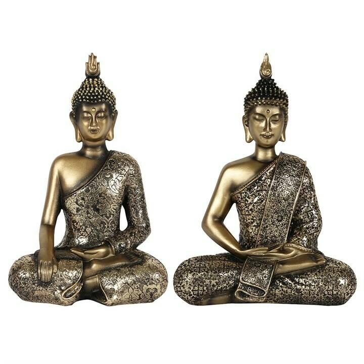 Buddha Statue Sitting Ornament Silver x 2