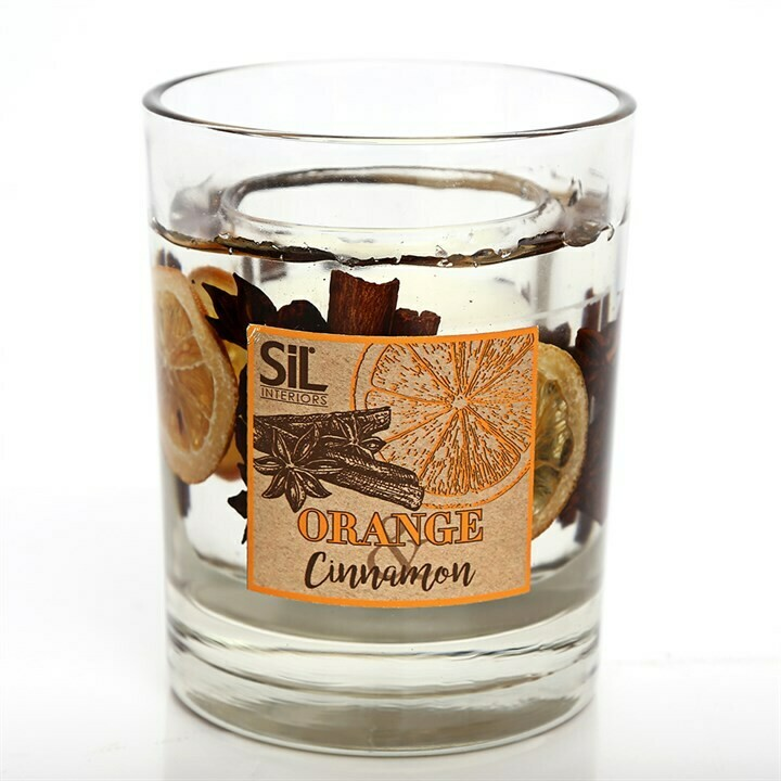 Gel Candle Large Cinnamon & Orange Scented Wax Candles