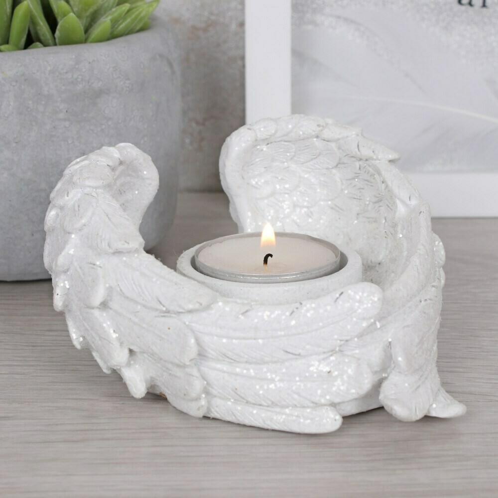 Candle Holder Glitter Angel Wing
