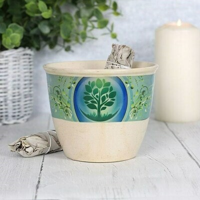 Smudge Bowl Ceramic Tree of Life Design Large