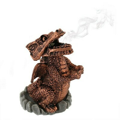 Silver Resin Dragon Incense Cone Holder