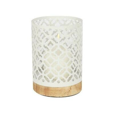 Metal Lanterns with Wood Bases - White Quatrefoil 17.5cm  Home Decor Latest design. Candle Lantern