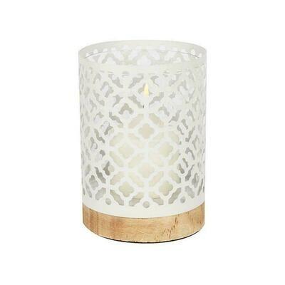 Metal Lanterns with Wood Bases - White Quatrefoil 17.5cm  Home Decor Latest design. Candle Lantern