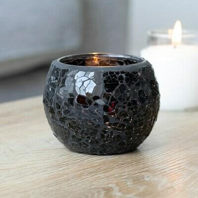 Large Luxury Round Black Crackle Glass Candle Holder