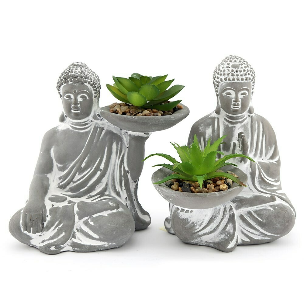 Cement Buddha with Faux Succulent x 2