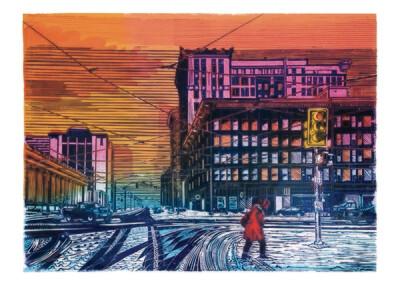 Pia E. van Nuland, Mainstreet, SLC-USA, 120 x 160 cm, mehrfarbiger Linoldruck auf Leinwand, 3/3, 2020