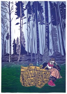 Pia E. van Nuland, In Between Myself #8, Auflage 9, Sechsfarbiger Linoldruck auf Papier,  59,4 x 84,1(A1), gerahmt. 2017