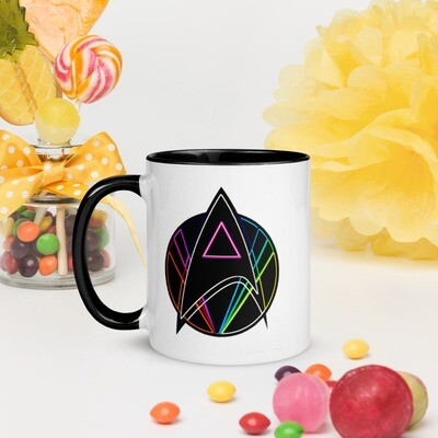 Pink Triangle Queer Star Trek Mug with Color Inside