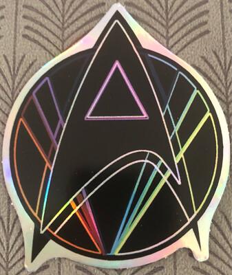 "Pink Triangle Queer Star Trek Holographic 3"" Sticker"