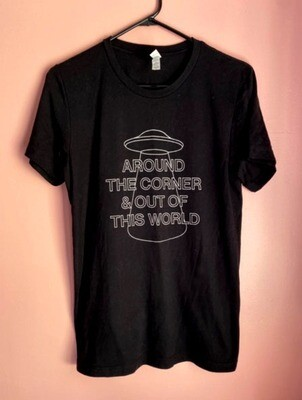 Around the Corner and Out of This World Black Tee