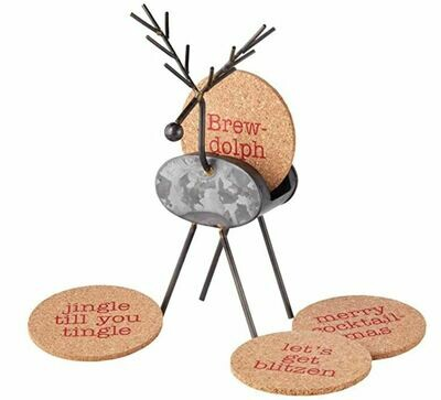 Reindeer Coaster Holder Set