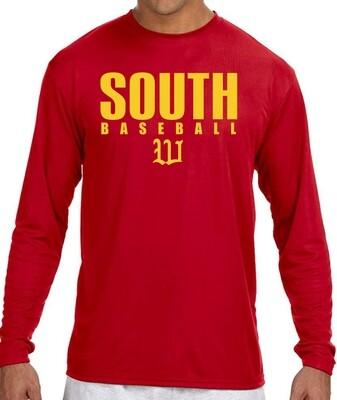 Red A4 N3165 Dryfit Long Sleeve T-Shirt