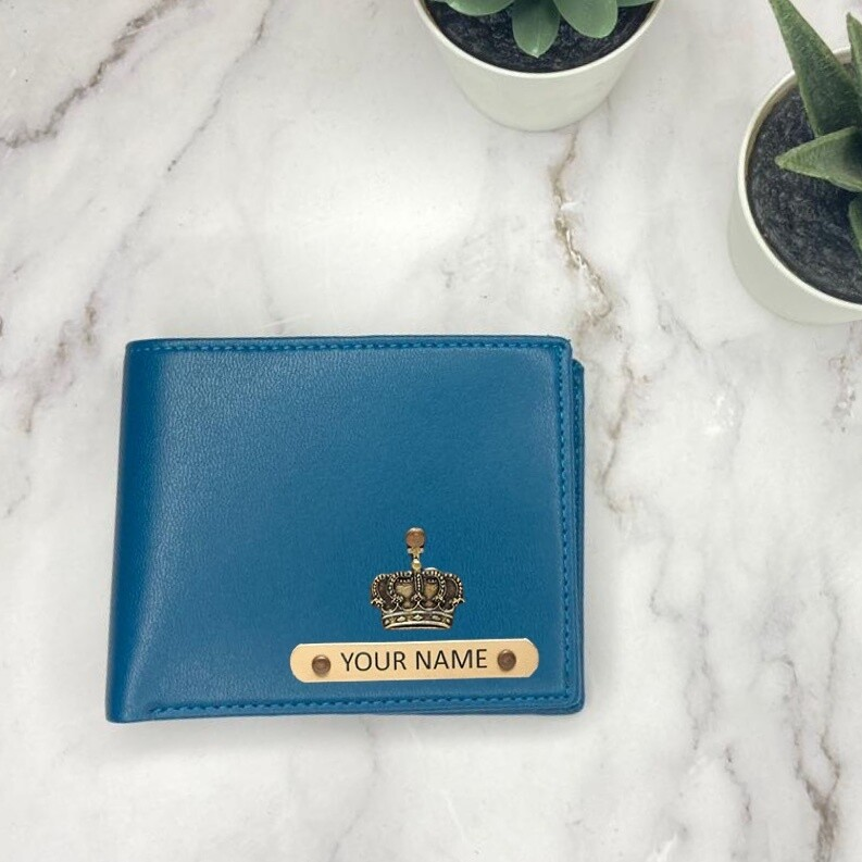 Royal Blue - Tan Imported Dual Colour Wallet