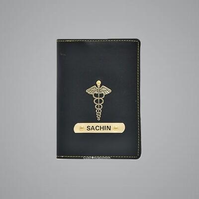 Black Customised Passport Holder (Indian Leather)