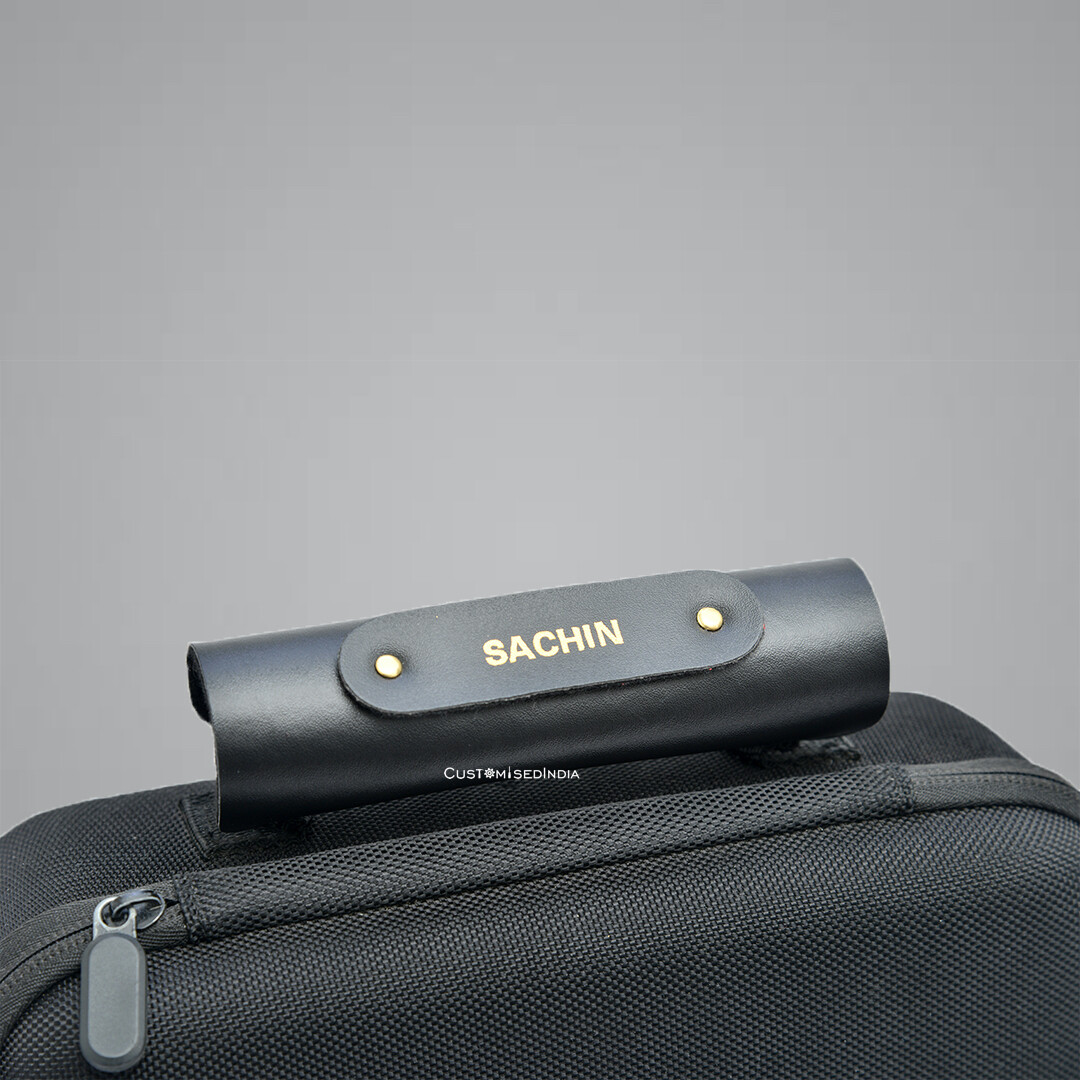 Black Personalised Luggage Handle Cover