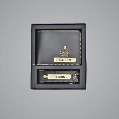 Black Customised Wallet + Keychain Combo