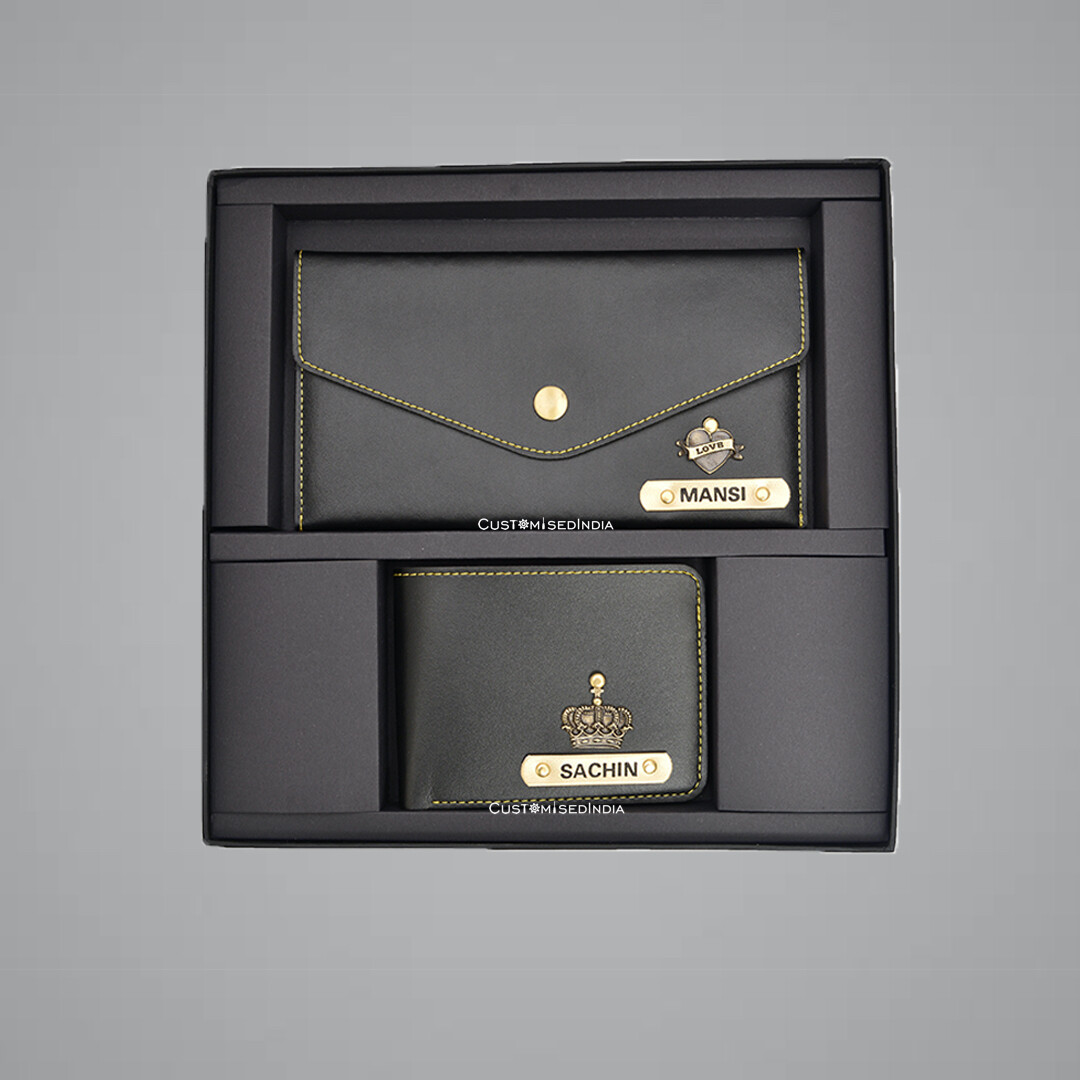 Black Customised Couple Wallet Combo