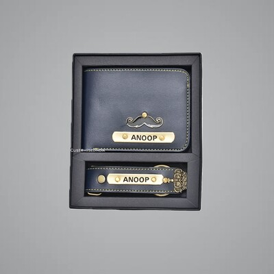 Blue Customised Wallet + Keychain Combo