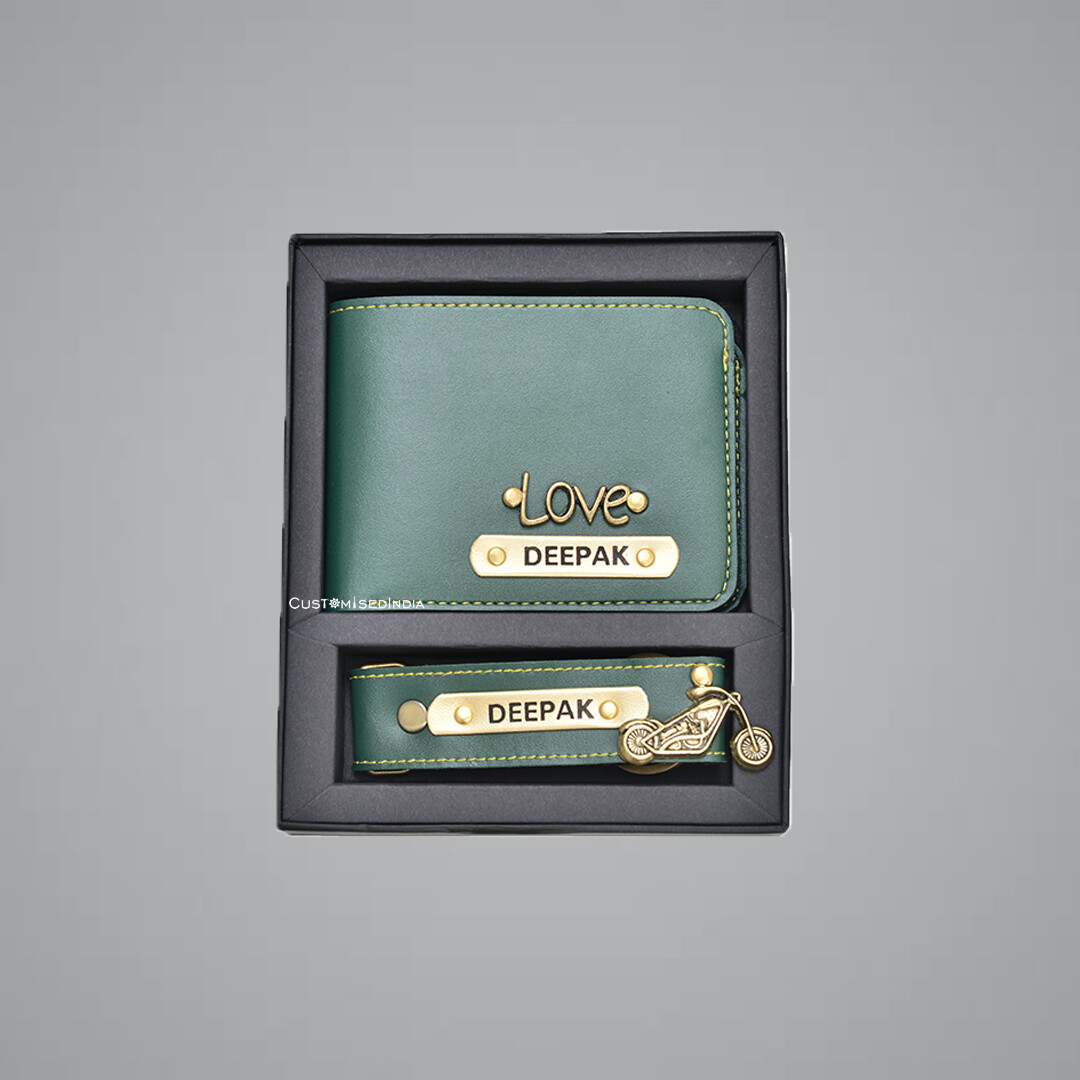 Green Customised Wallet + Keychain Combo
