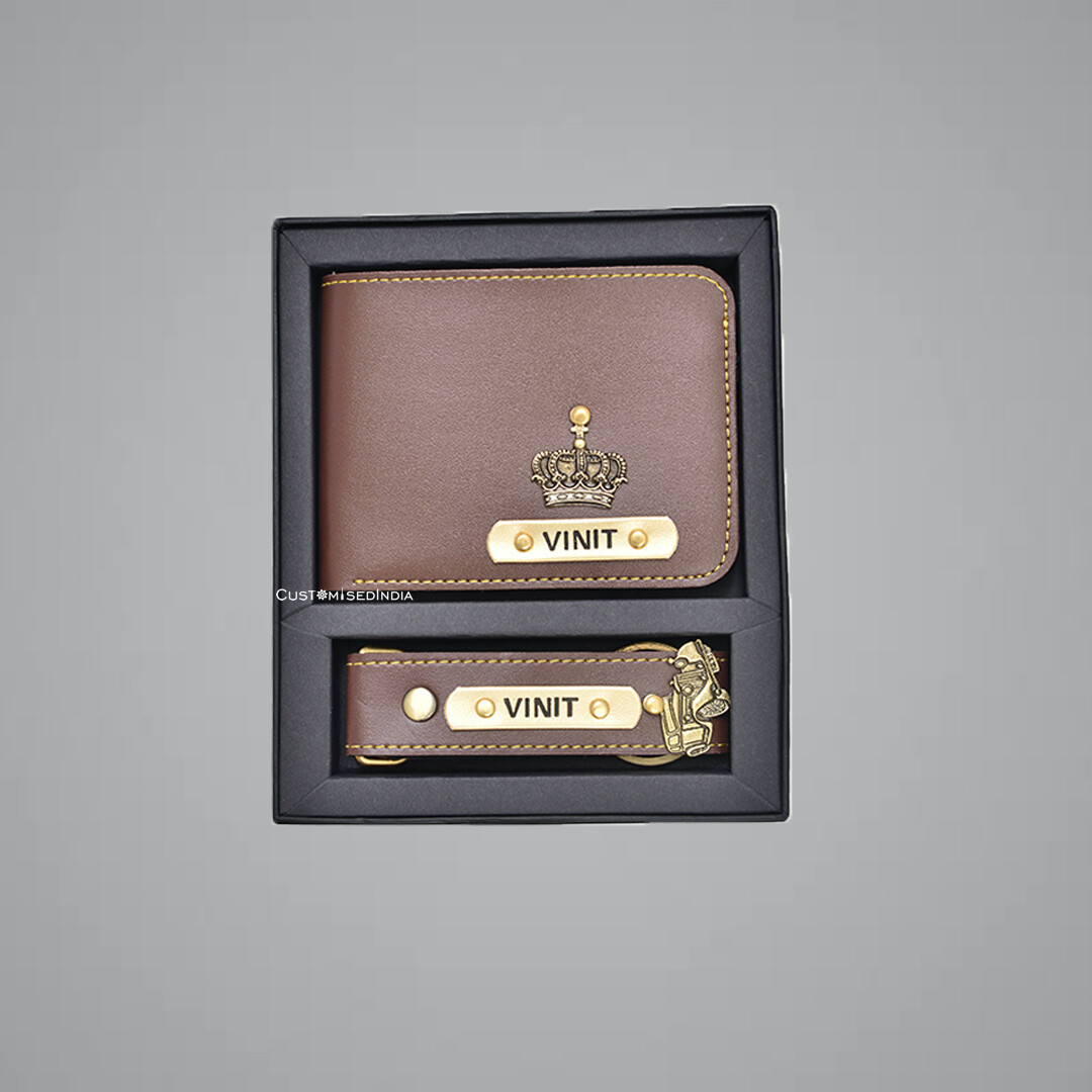 Brown Customised Wallet + Keychain Combo