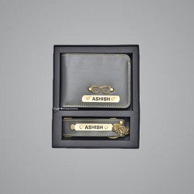 Grey Customised Wallet + Keychain Combo