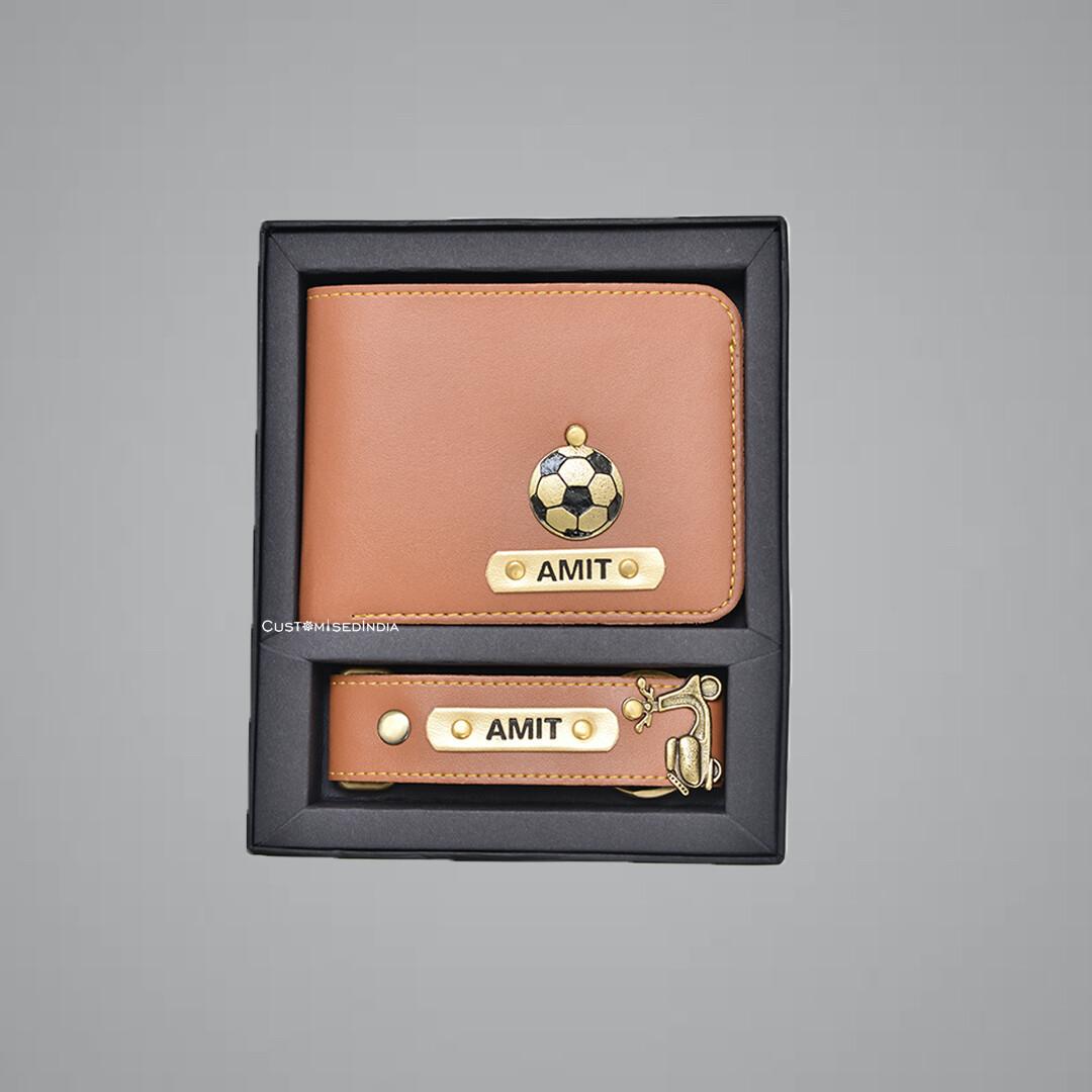 Tan Customised Wallet + Keychain Combo