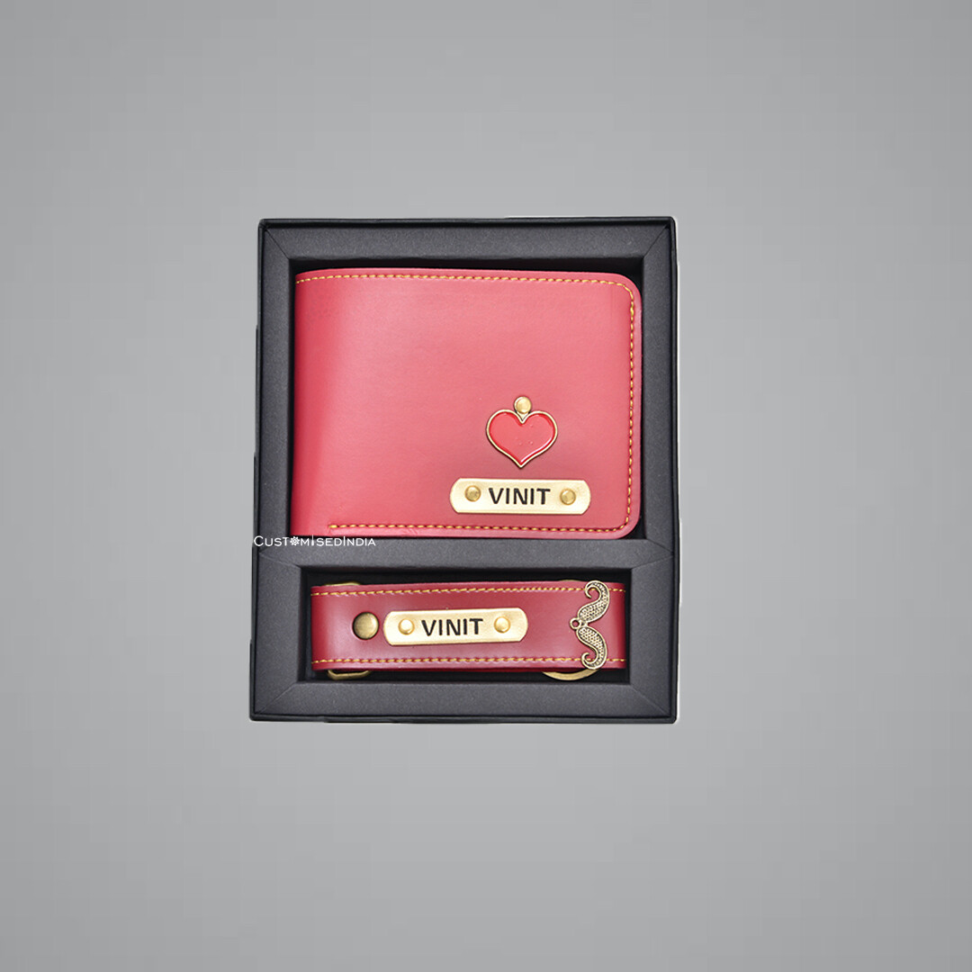 Red Customised Wallet + Keychain Combo