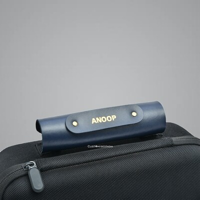 Blue Personalised Luggage Handle Cover
