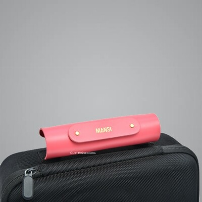 Pink Personalised Luggage Handle Cover