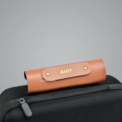 Tan Personalised Luggage Handle Cover