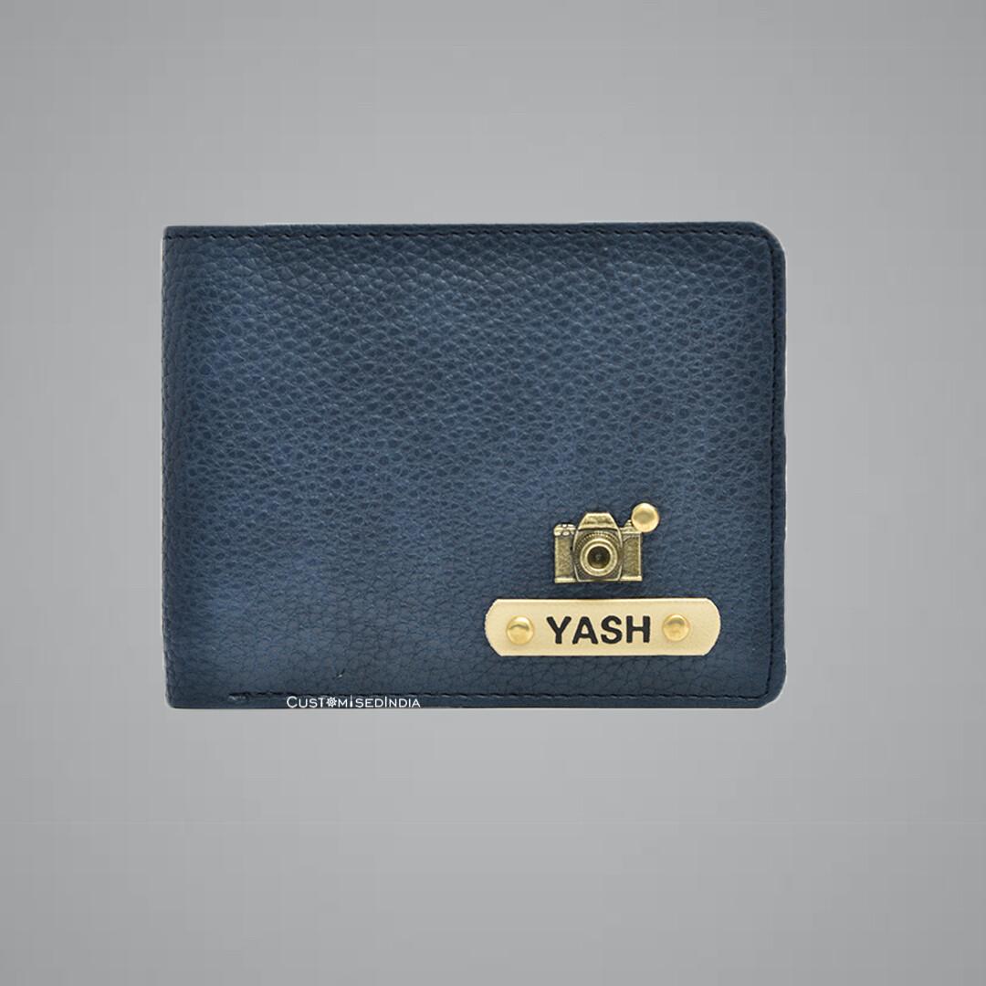 Navy Blue Genuine Leather Customised Wallet