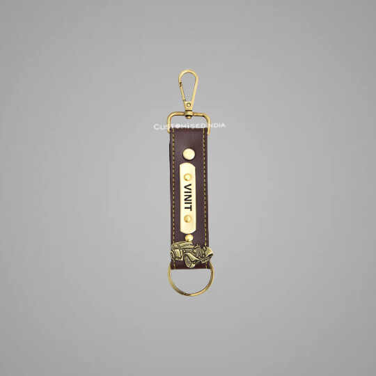 Brown Customised Keychain with Hook
