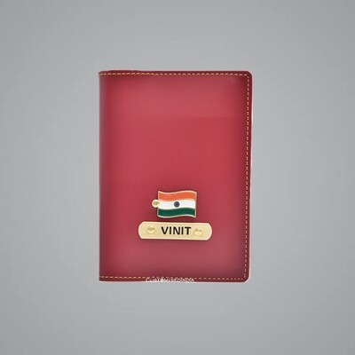 Red Customised Passport Holder (Indian Leather)