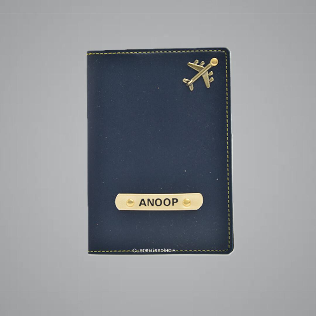 Blue Customised Passport Holder (Indian Leather)