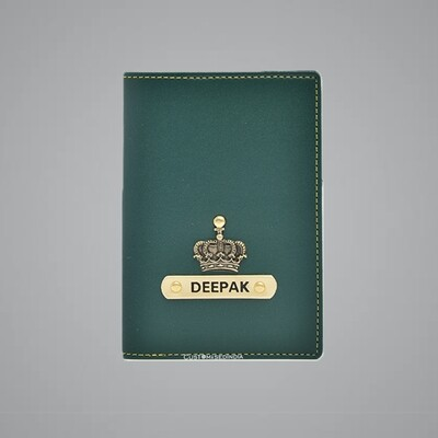 Green Customised Passport Holder (Indian Leather)
